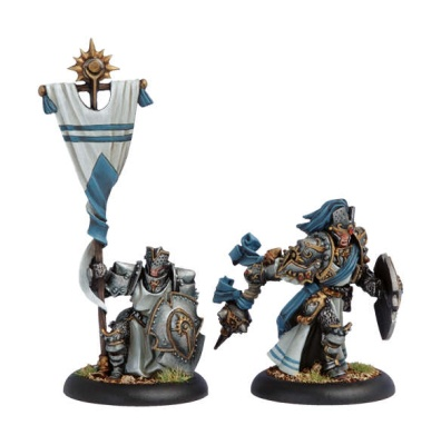 Cygnar Allies Precursor Knights Officer and Standard Bearer