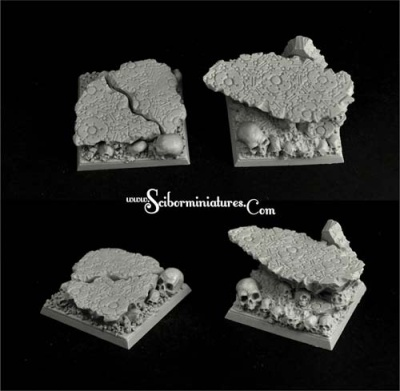 Squalid Ground Square Bases 40mm set2 (2)