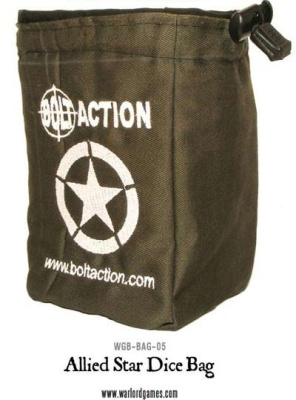 Bolt Action Allied Star Dice Bag & Dice (Green)