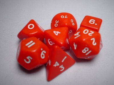 Chessex RPG Dices: Red/White Opaque Polyhedral 7-Die Set