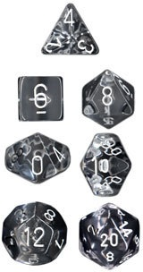 Clear w/white Translucent Polyhedral 7-Die Sets