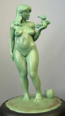 Mary, naked female with dragon hatchling