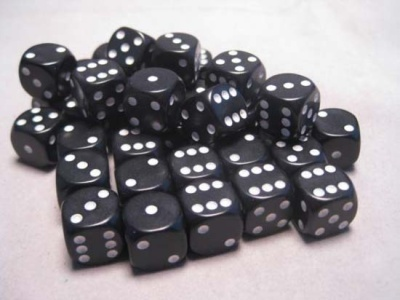 Chessex Dice Sets: Black/White Opaque 12mm d6 (36)