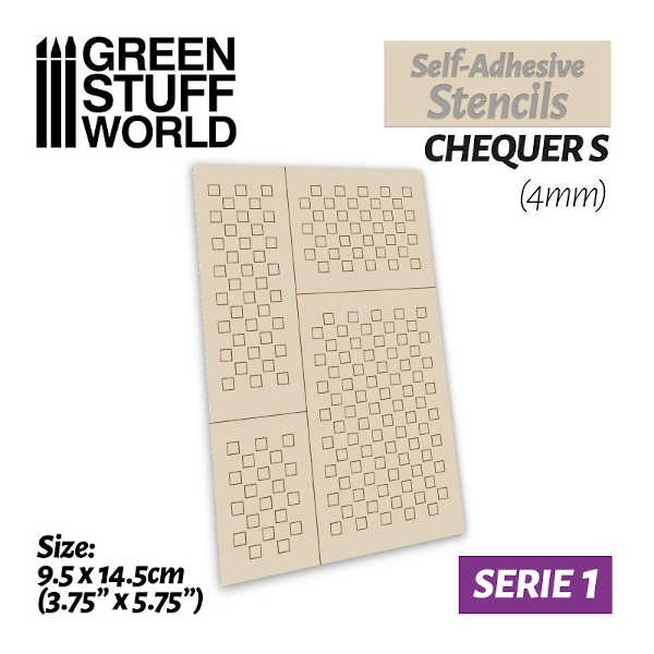 Self-adhesive stencils - CHEQUER S (4mm)