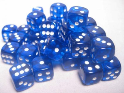 Chessex Dice Sets: Blue/White Translucent 12mm d6 (36)