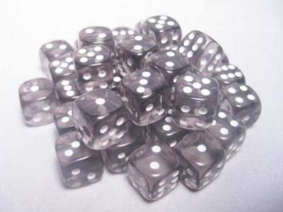 Chessex Dice Sets: Smoke/White Translucent 12mm d6 (36)