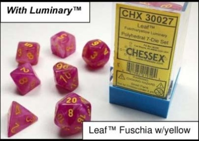 Chessex Polyhedral 7-Dice Sets: Fuchsia w/yellow