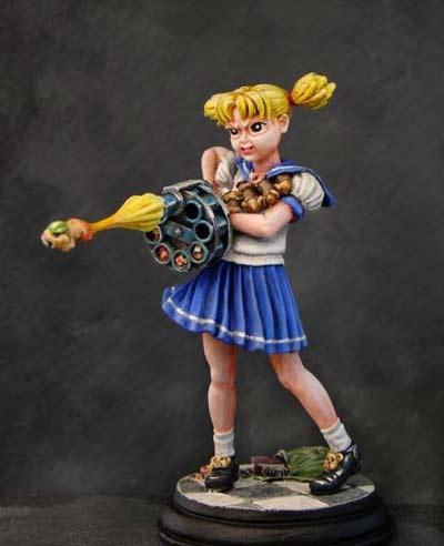 Anime School Girl with Hamster Gun (54mm)