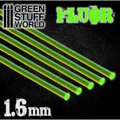 Acrylic Rods - Round 1.6 mm Fluor GREEN (5)