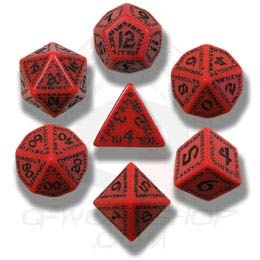 Red & Black Runic Dice (7)