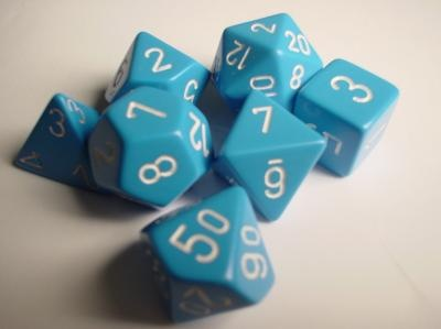 Chessex RPG Dice: Light Blue/White Opaque Polyhedral 7- Set