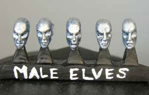Elf male heads (a) Sprue of 5 (5)