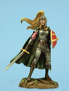 Female Paladin with Sword and Shield