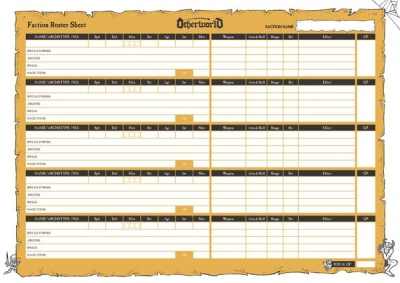 Otherworld Fantasy Skirmish - Faction Roster Sheets (30)