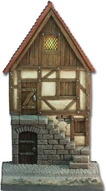 Fassade mittelalterliches Haus mit Treppe