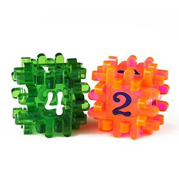 Constructible Dice - Light Red & Green (2)