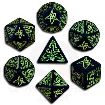 Black & Green Call of Cthulhu Dice (7)