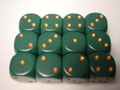 Chessex Dice Sets: Green/Copper Dusty Opaque 16mm d6 (12)