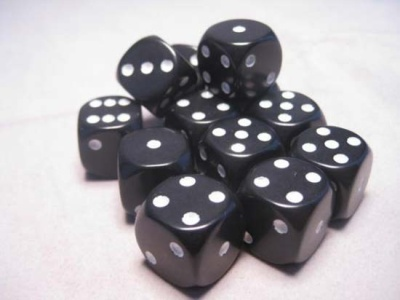 Chessex Dice Sets: Black/White Opaque 16mm d6 (12)
