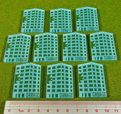 Dropzone, Building Damage Tokens, Transparent Light Blue (10