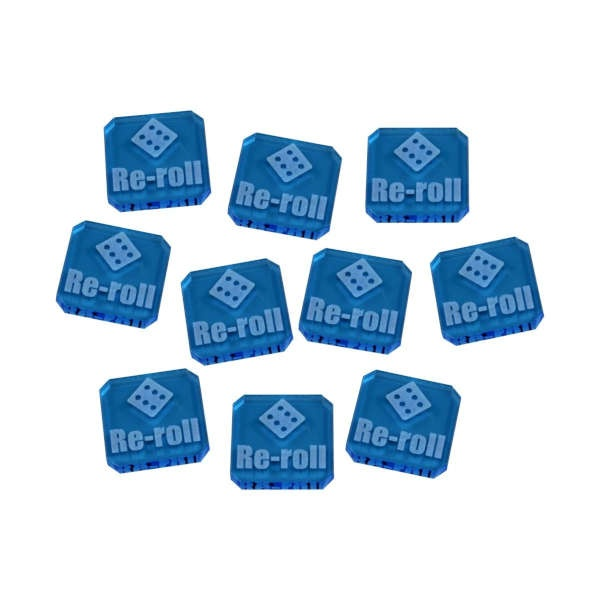 Re-roll Tokens compatible with WHv9, Fluorescent Blue (10)