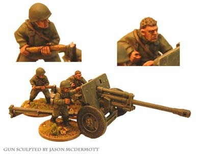 Russian 76mm AT gun & 3 crew