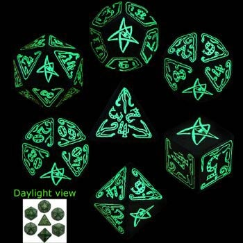 Green & Glow-in-the-Dark Call of Cthulhu Dice (7) (OOP)