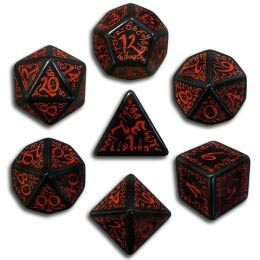 Black & Red Elvish Dice (7)