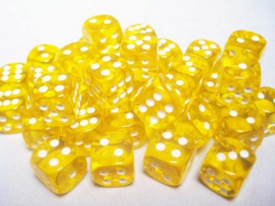 Chessex Dice Sets: Yellow/White Translucent 12mm d6 (36)