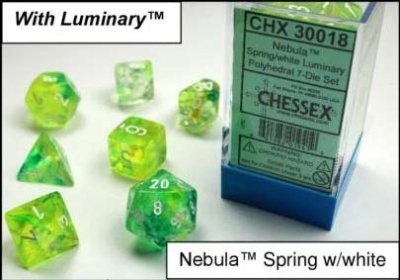 Chessex Polyhedral 7-Dice Sets: Nebula Spring w/white