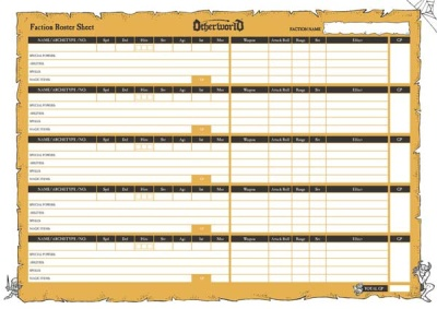 Otherworld Fantasy Skirmish Faction Roster Sheets