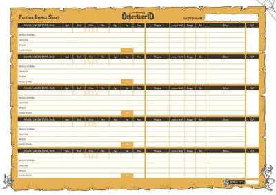 Otherworld Fantasy Skirmish Faction Roster Sheets