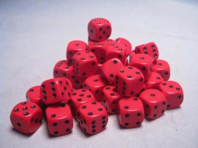 Chessex Dice Sets: Red/Black Opaque 12mm d6 (36)