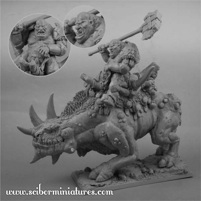 28mm Ogre War Rhino Rider (1)