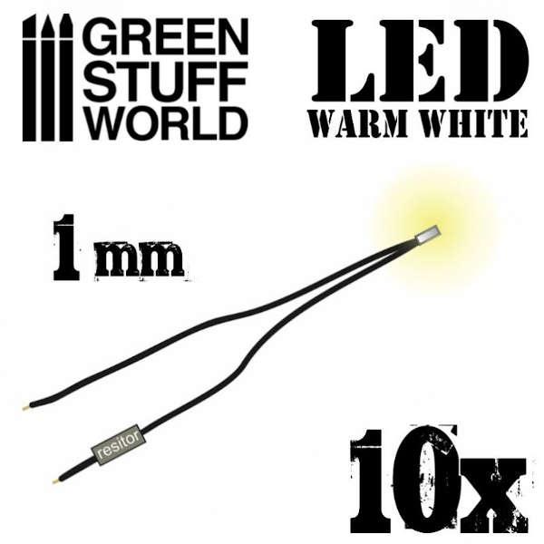 Warm White LED Lights - 1mm (10)