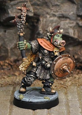 Orc Chieftain, with flail and shield