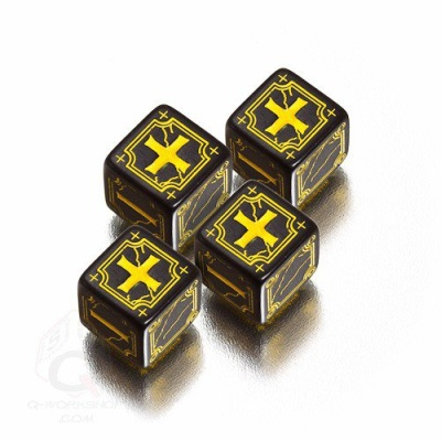 4D6 Ancient Fudge Dice Set Black-yellow