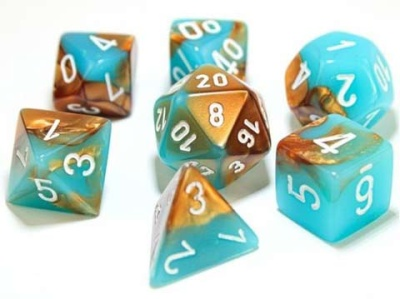 Chessex Polyhedral 7-Dice Sets: Copper-Turquoise/White