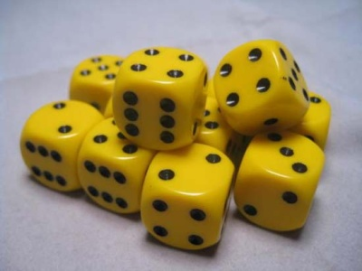 Chessex Dice Sets: Yellow/Black Opaque 16mm d6 (12)