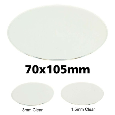 Clear Miniature Base, Oval 70x105x1,5mm
