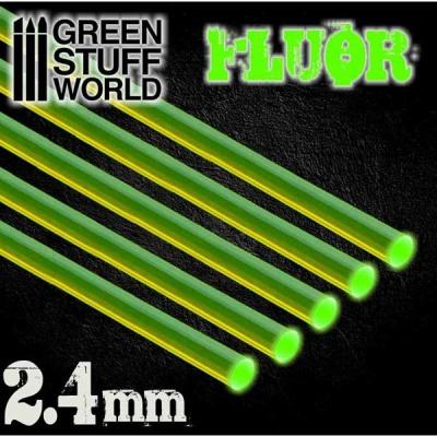 Acrylic Rods - Round 2.4 mm Fluor GREEN (5)