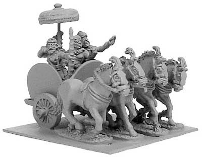 Indian General's 4-horsed chariot w/ 4 crew