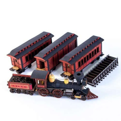 19th C. American Passenger Train Set (Red)