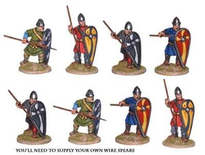 Unarmoured Norman Spearmen (8 figs)