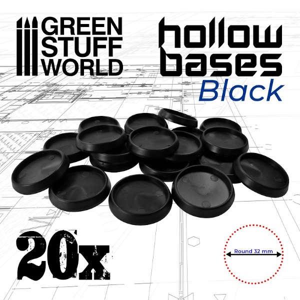 32mm Hollow Plastic Bases - BLACK (20)