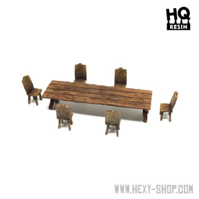 Wooden Table and Seats Set 2