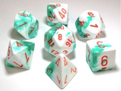 Chessex Polyhedral 7-Dice Sets:  Mint Green-White/Orange