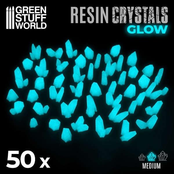 AQUA TURQUOISE GLOW Resin Crystals - Medium (50)