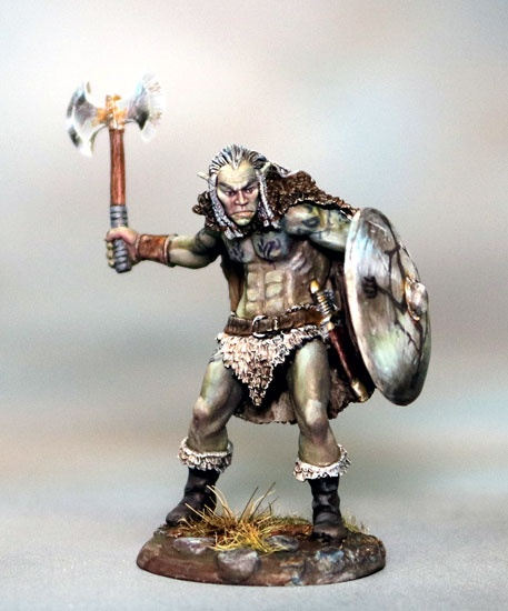 Male Half Orc Warrior with Battle Axe