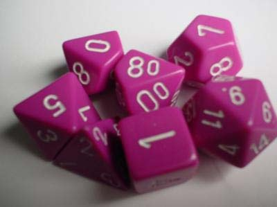 Chessex RPG Dice: Light Purple/White Opaque Polyhedral 7-Set